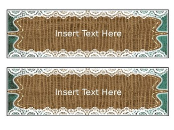 Editable Banners and Slides - Teal Wood, Burlap, and Lace