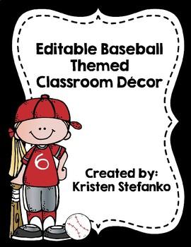 Editable Baseball Classroom Decor