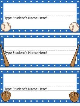 Editable Baseball & Polka Dot Themed Desk Name Plates with Handwriting Lines