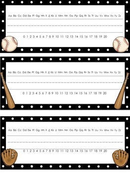 Editable Baseball Themed Desk Name Plates With Alphabet and Numbers 0 - 20