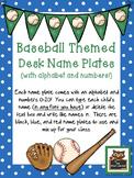 Editable Baseball Themed Desk Name Plates With Alphabet an