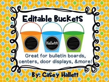 Editable Beach Pails {Centers, Door Display, Bulletin Boards}