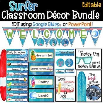 Editable Beach Surfer Classroom Decor Bundle