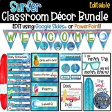 Editable Beach Surf Theme Classroom Decor Bundle