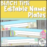 Editable Beach Theme Classroom Student Desk Name Plates