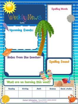 Editable Beach Theme Elementary Newsletter