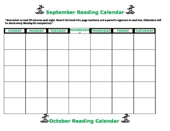 Editable Beach Theme  Reading Calendar