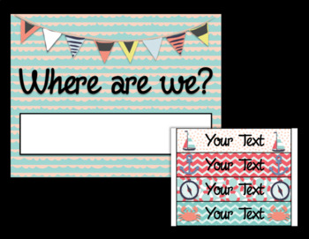 Editable Beach Theme Where are We Poster