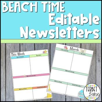 Editable Beach Themed Class Newsletter Template