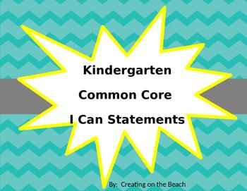 Editable Beach Themed Kindergarten ELA and Math Common Cor
