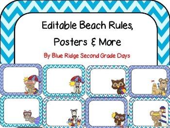 Editable Beach Themed Rule Posters