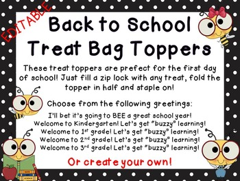 Editable Bee Back to School Treat Topper
