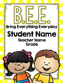 Editable Bee Binder or Folder Covers and Labels