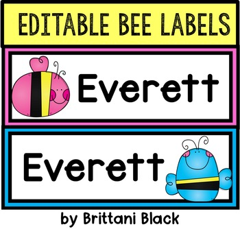 Editable Bee Labels