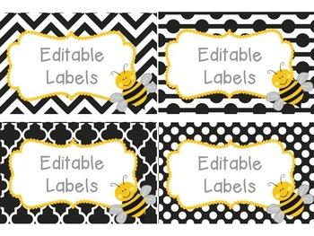 Editable Bee Labels Mega Set