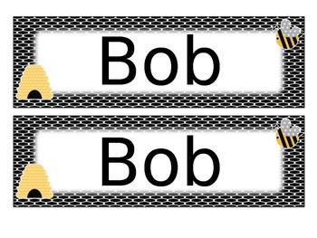 Editable Bee Name Tags Desk Plates
