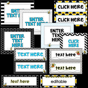 Bee Nameplates and Classroom Labels- Editable