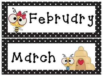 Editable Bee and Polka Dot Calendar Classroom Super Pack