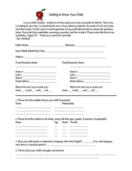 English Editable Beginning of the Year Parent Questionnaire