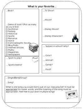Editable Beginning of the Year Student Inventory