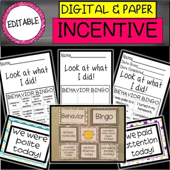 DIGITAL and PAPER Editable Behavior Bingo