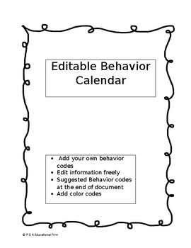 Editable Behavior Calendar