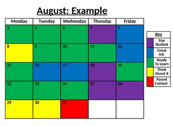 Editable Behavior Calendar 2016-2017