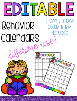 Editable Behavior Calendar - Lifetime Use