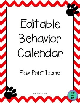 Editable Behavior Calendar (red chevron and paw print theme)