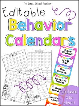 Editable Behavior Calendards (Clip Chart Included!)