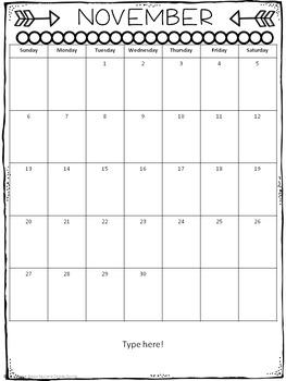 Editable Classroom Calendars (for any theme)