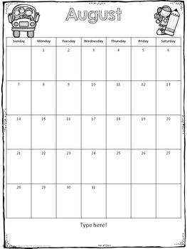 Editable Classroom Calendars (for any theme)