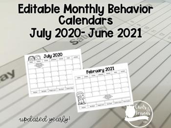 2016 Behavior Calendars - Editable
