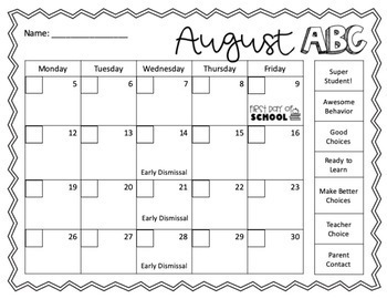 Editable Behavior Calendars 2017-2018