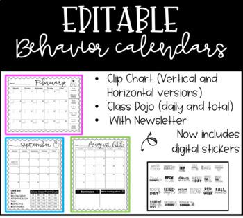 Editable Behavior Calendars 2016-2017