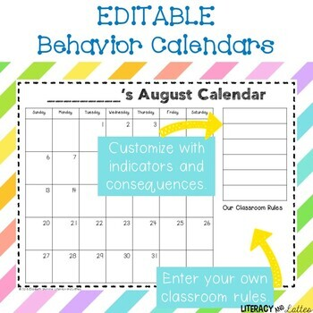 Editable Behavior Calendars - 2017 - 2018 PLUS yearly updates!