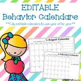 Editable Behavior Calendars - 2019-2020