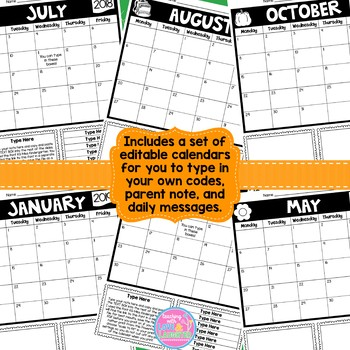 Editable Behavior Calendars 2018-2019 School Year {No Weekends}