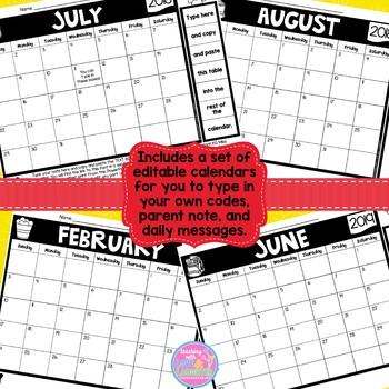 Editable Behavior Calendars 2018-2019 School Year {Weekends Included}
