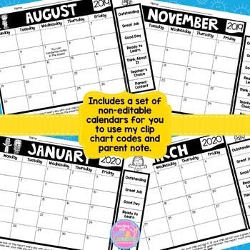 Editable Behavior Calendars 2019-2020 School Year {No Weekends, Landscape}