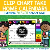 Editable Behavior Calendars for Clip Chart 2017-2018 {No Weekends}