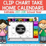 Editable Behavior Calendars for Clip Chart 2017-2018 {Weekends Included}