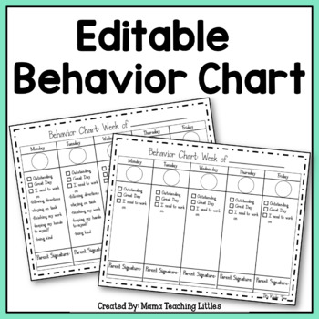 Editable Behavior Chart By ItS Kinder Time  Teachers Pay Teachers