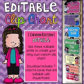 Editable Behavior Clip Chart {Melonheadz Chevron Edition}