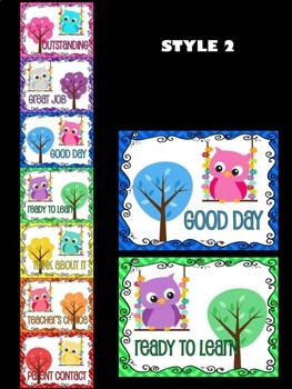 Editable Behavior Chart - Owl Theme Clip Chart : Chevron Sweet Owls in Trees