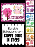 Editable Behavior Chart - Owl Theme Clip Chart : Chevron Sweet Owls in Trees