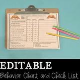 Editable Behavior Chart and Check Sheet