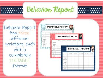 Editable Behavior Clip Chart & Behavior Report BUNDLE