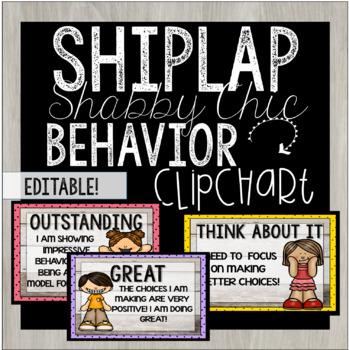 Editable Behavior Clip Chart - Shiplap Shabby Chic Theme!