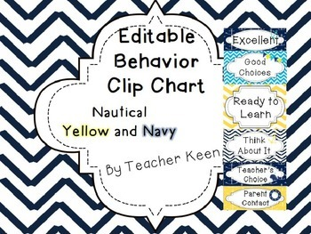Editable Behavior Clip Chart - Yellow and Navy